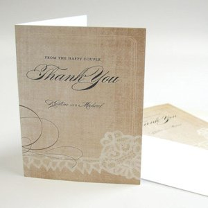 Vintage Lace Personalized Thank You Card (7 Colors) image