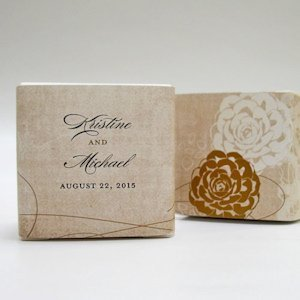 Vintage Lace Personalized Favor Box Wrap (7 Colors) image