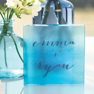 Aqueous Personalized Clear Acrylic Block Cake Topper image