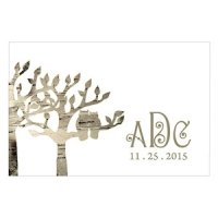 Birch Bark Owl Tree Silhouette Favor Tag (Set of 12)
