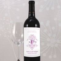 Fanciful Monogram Wedding Wine Labels (Set of 8 - 9 Colors)