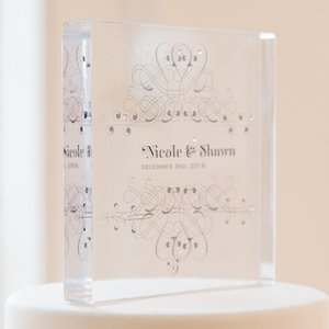 Fanciful Personalized Clear Acrylic Block Cake Topper image