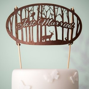 Just Married Woodland Wood Veneer Cake Topper image