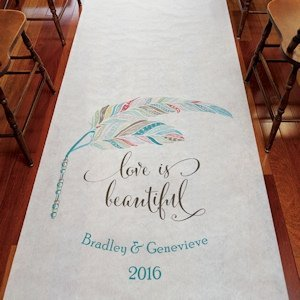 Feather Whimsy Personalized Aisle Runner image