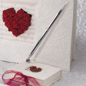 Romantic Red Flower of Love Mulberry Paper Wrapped Pen Set image