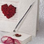 Romantic Red Flower of Love Mulberry Paper Wrapped Pen Set