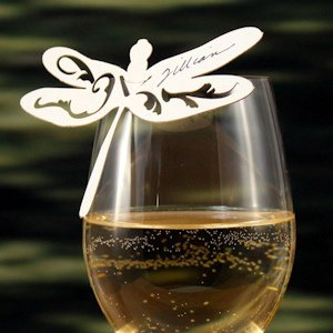 Laser Dragonfly Die Cut Place Card - Set of 6 (6 Colors) image