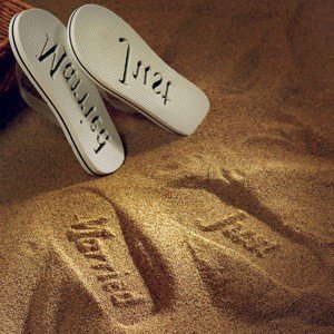 Just Married Bride and Groom Flip Flops image