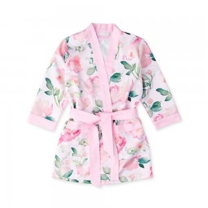 Flower Girl Silky Pink Floral Kimono Robe image