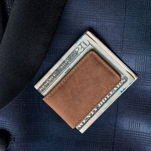 Tanned Genuine Leather Magnetic Money Clip image