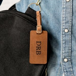 Tanned Genuine Leather Personalized Luggage Tag image