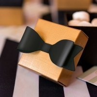 Classic Black Paper Bows - 2 Sizes (Set of 12)
