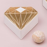 Metallic Diamond Favor Box - Silver or Gold (Set of 10)