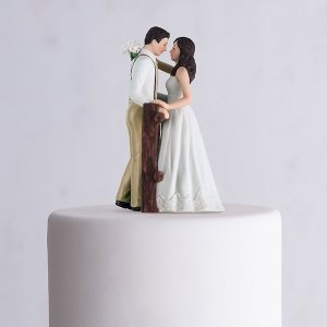 Rustic Couple Porcelain Figurine Wedding Cake Topper image