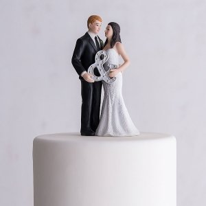 Mr. & Mrs. Porcelain Wedding Cake Topper With Ampersand image