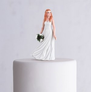 Trendy Bride Porcelain Figurine Wedding Cake Topper image