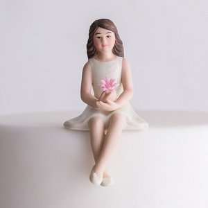 Preteen Girl Porcelain Figurine Family Wedding Cake Topper image