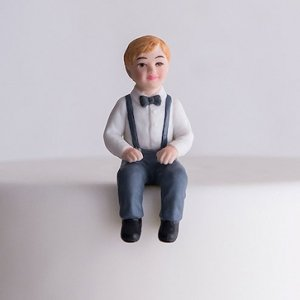 Toddler Boy Porcelain Figurine Family Wedding Cake Topper image