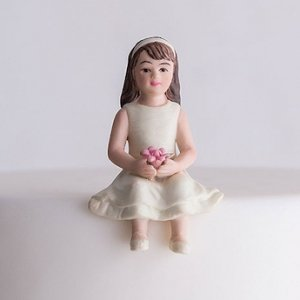 Toddler Girl Porcelain Figurine Family Wedding Cake Topper image