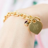 Personalized Birthstone Charm Matte Gold Toggle Bracelet