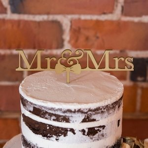 Mr & Mrs Bow Tie Acrylic Cake Topper (Many Colors) image