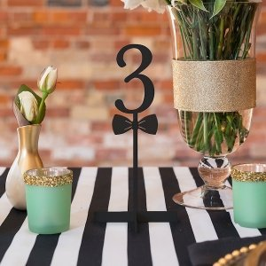 Bow Tie Black Acrylic Table Number (Numbers 1 - 9) image