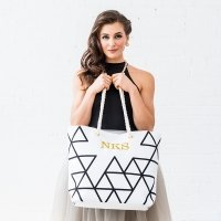 Geo Prism Black on White Tote