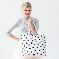 Dalmatian Dot Black on White Tote