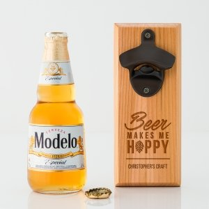 Beer Makes Me Hoppy Wood Wall Mount Bottle Opener image