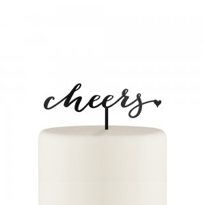 Script Cheers Acrylic Cake Topper - White or Black image