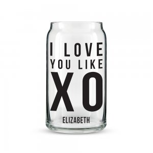 I Love You Like XO Personalized Can Shaped Glass Personalize image