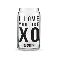 I Love You Like XO Personalized Can Shaped Glass Personalize