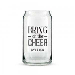 Bring on the Cheer Personalized Can Shaped Glass image