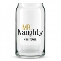 Mr and Mrs Naughty and Nice Personalized Can Shaped Glass