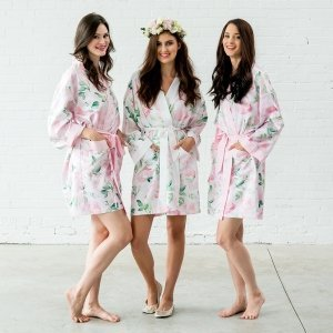 Watercolor Floral Silky Kimono Robe (6 Colors) image