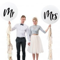 Mr or Mrs Large White Round Wedding Balloons