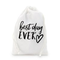 Best Day Ever Print Muslin Drawstring Favor Bag (Set of 12)