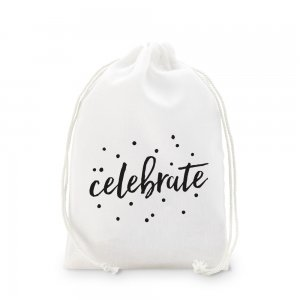 Celebrate Print Muslin Drawstring Favor Bag (Set of 12) image