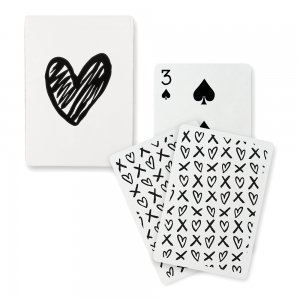 Black Foil Modern Heart Playing Cards image