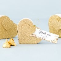 Gold Glitter Heart Favor Box (Set of 10)