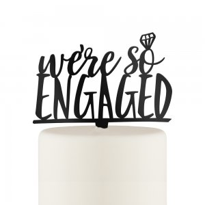 We're So Engaged Acrylic Cake Topper - Black or White image
