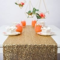 Glitzy Gold Sequin Table Runner