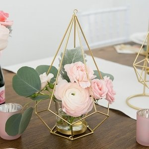 Tall Gold Geometric Candle or Flower Centerpiece - Set of 2 image