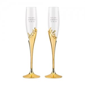 Cheers To Love Gold Champagne Glasses image