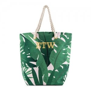 Tropical Leaf Print Canvas Tote image