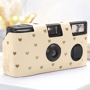 Ivory and Gold Hearts Design Single Use Camera image