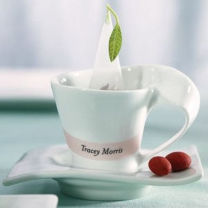 White Porcelain Cup and Saucer Favors (Set of 4) image