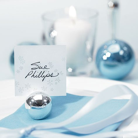 Round Silver Ball Place Card Holders Set Of 8