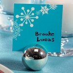 Round Silver Ball Place Card Holders (Set of 8)