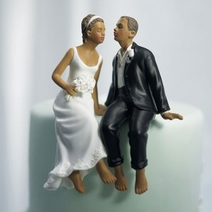 Whimsical Barefoot Sitting Bride and Groom Couple Cake Top image